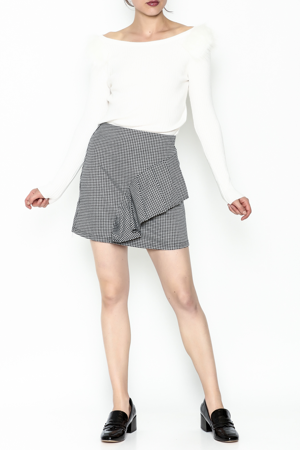 Lumiere Houndstooth Skirt - Side Cropped Image