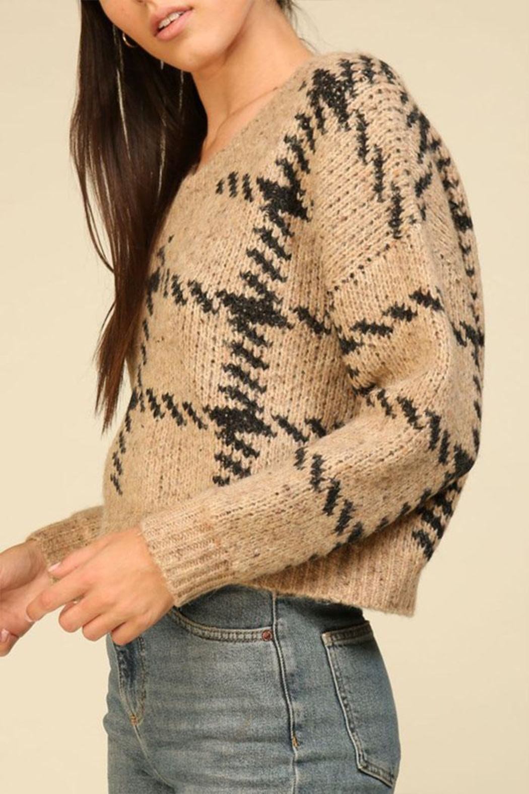 Lumiere Knit Check Sweater - Back Cropped Image