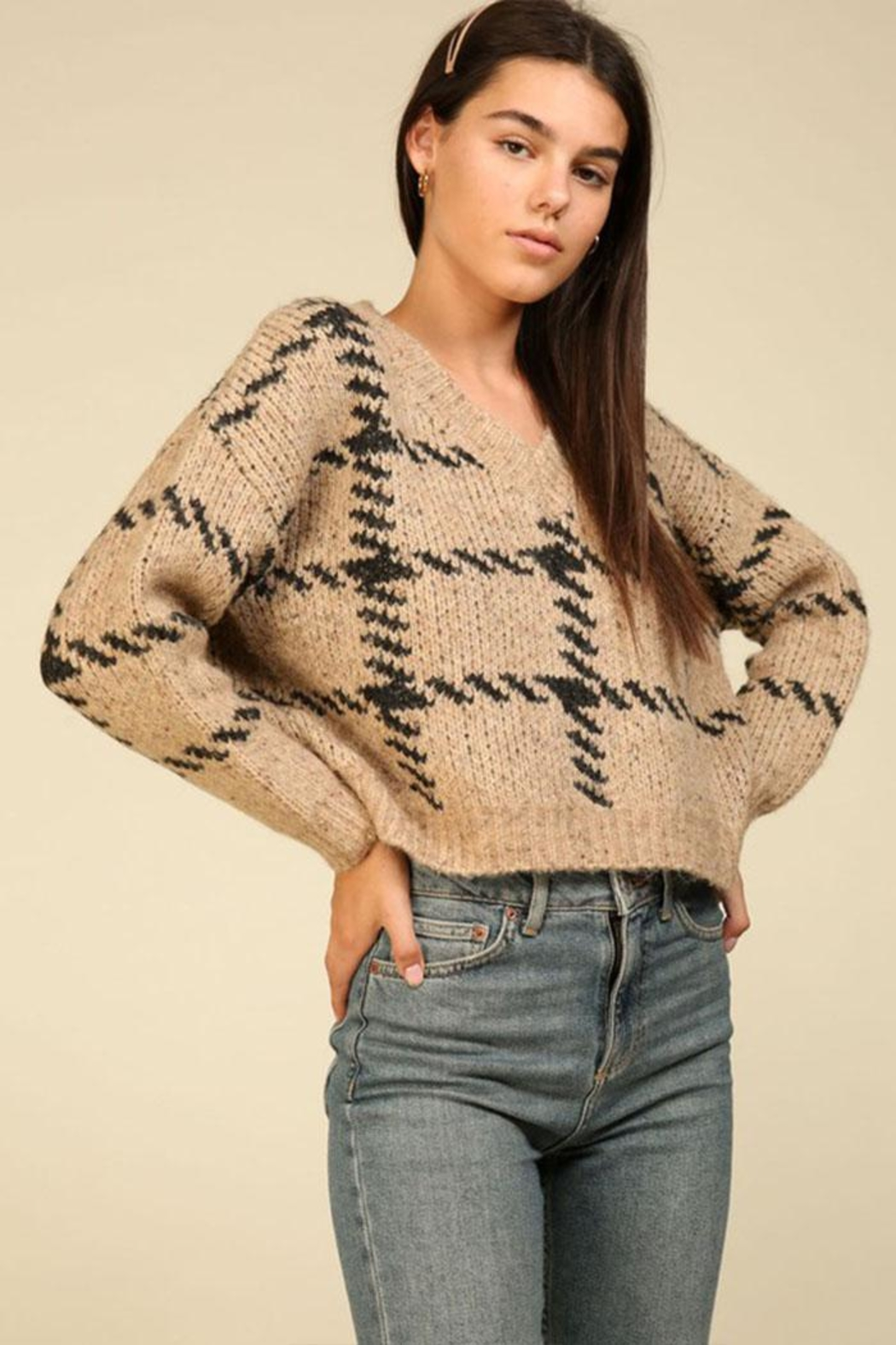 Lumiere Knit Check Sweater - Side Cropped Image