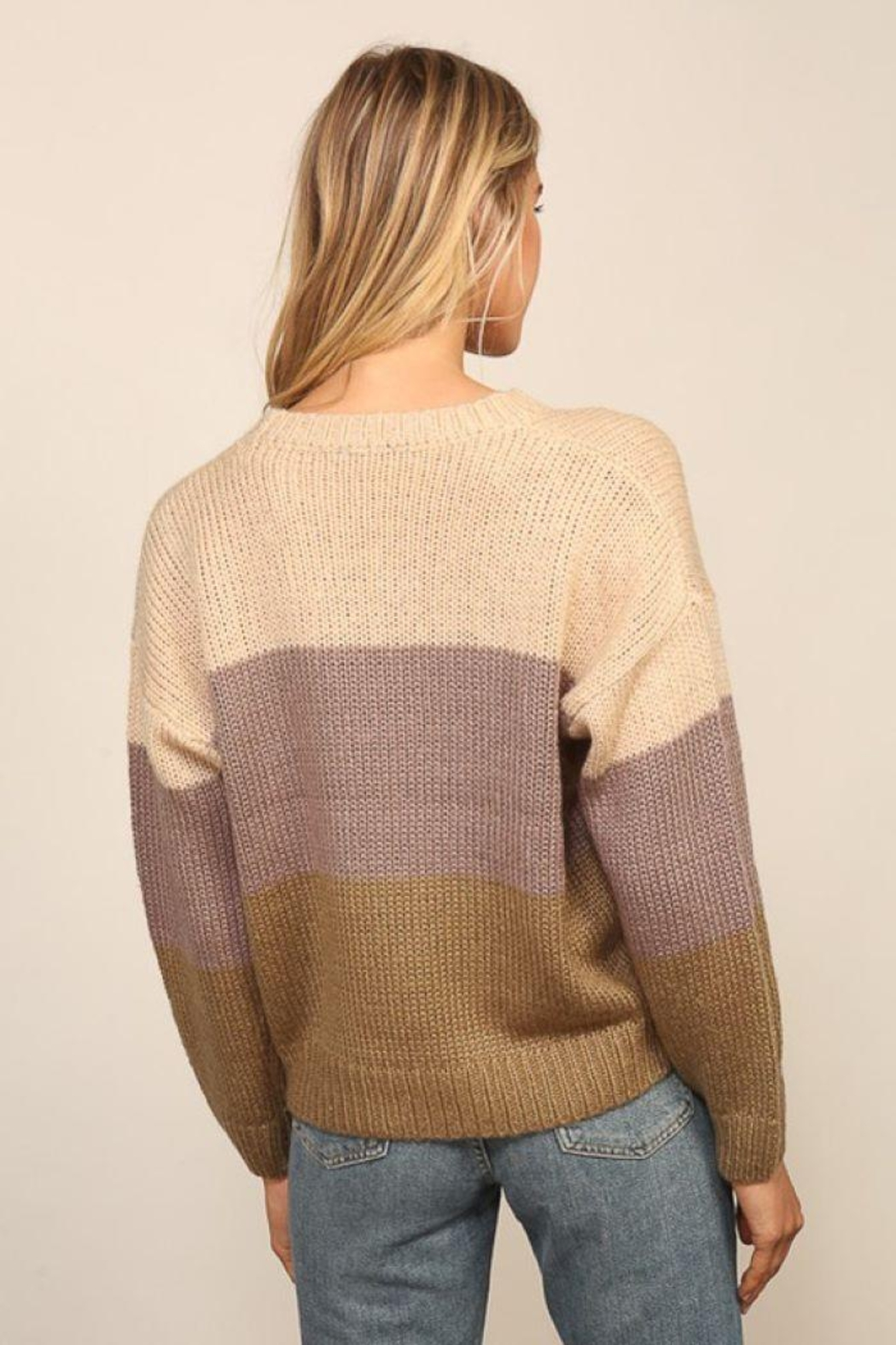 Lumiere Knitted Long Sleeve Color Block Sweater - Side Cropped Image