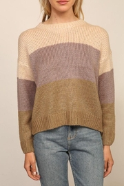Lumiere Knitted Long Sleeve Color Block Sweater - Other