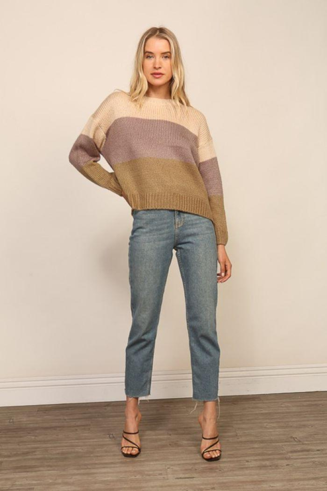Lumiere Knitted Long Sleeve Color Block Sweater - Back Cropped Image
