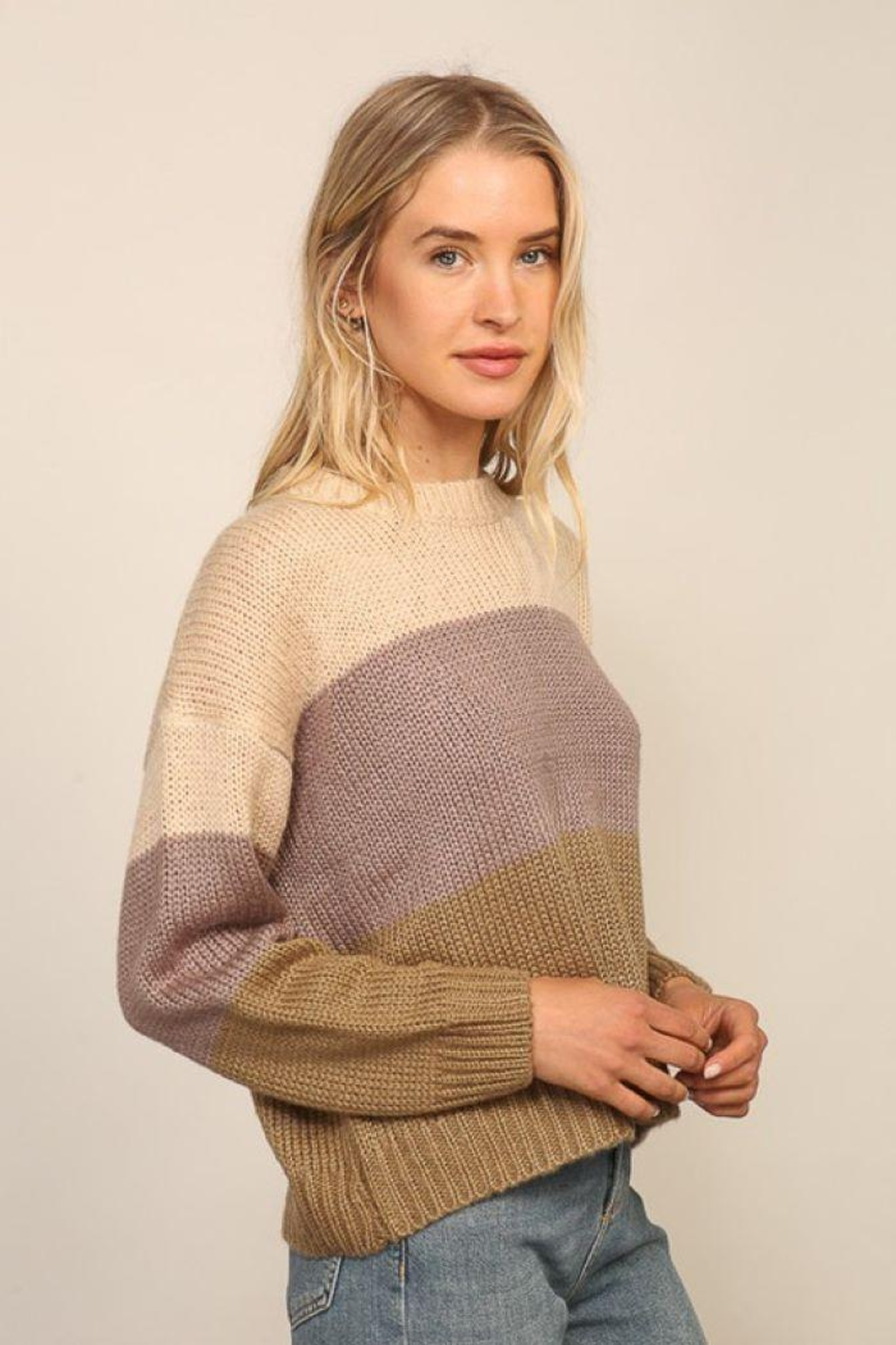 Lumiere Knitted Long Sleeve Color Block Sweater - Front Full Image