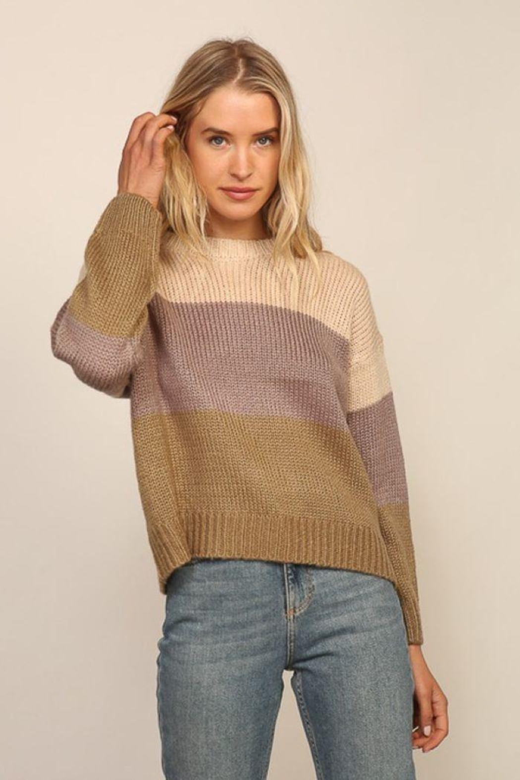 Lumiere Knitted Long Sleeve Color Block Sweater - Main Image