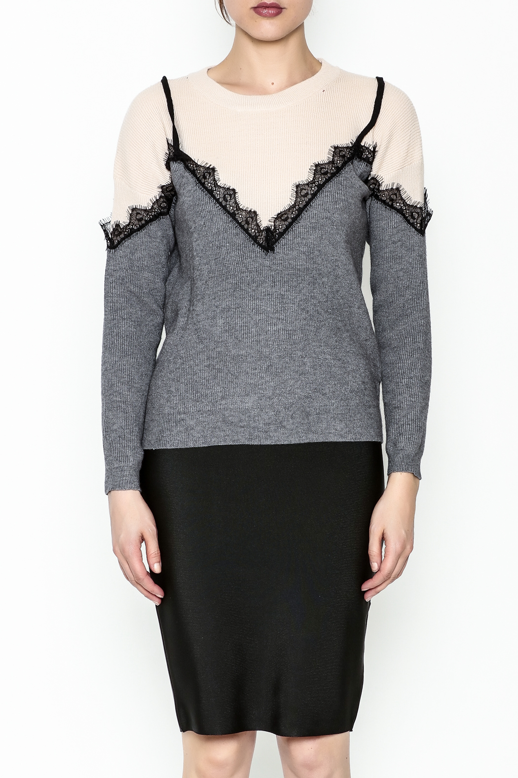 Lumiere Lace Trim Top - Front Full Image