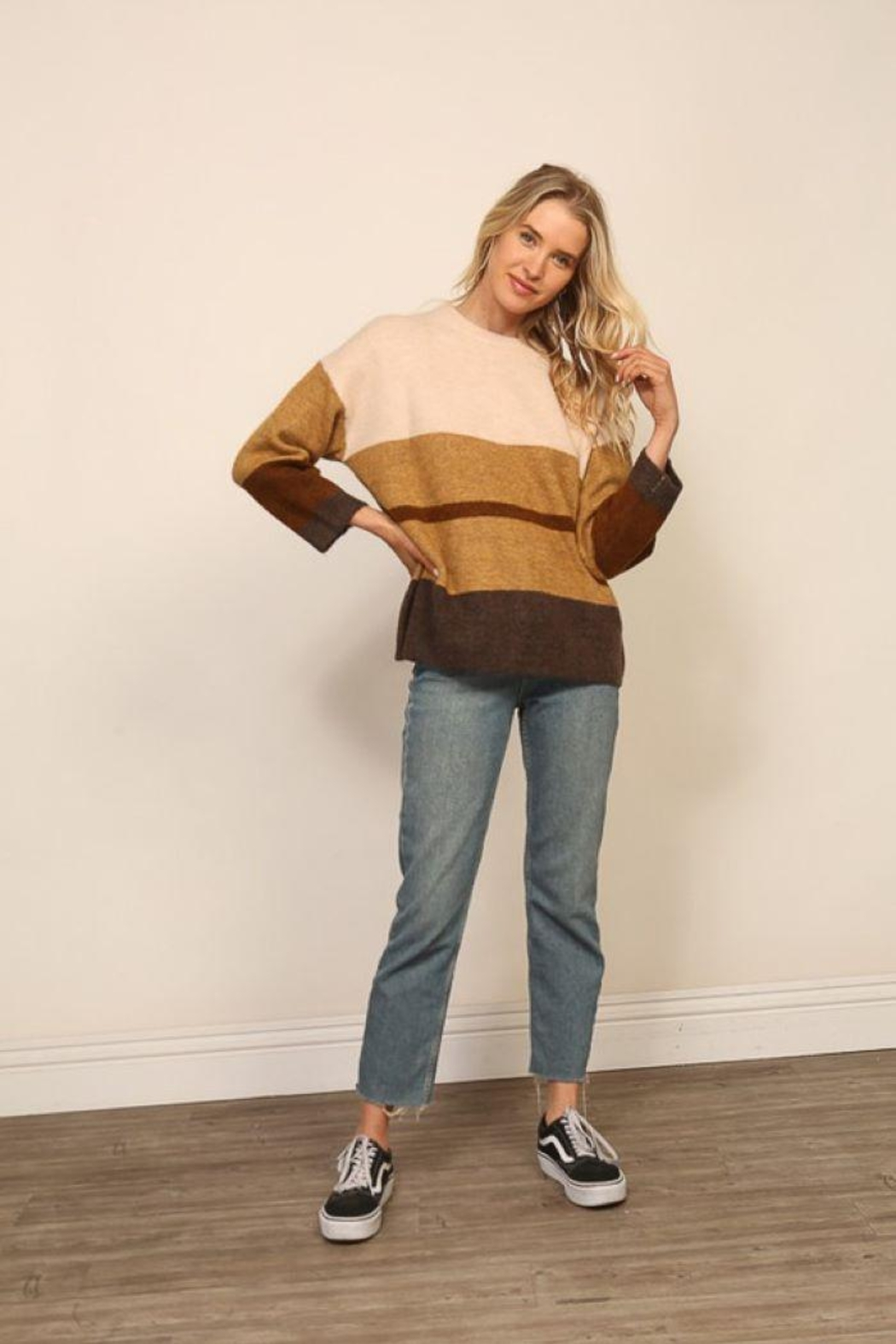 Lumiere Long Sleeve Colorblock Knitted  Sweater - Front Full Image