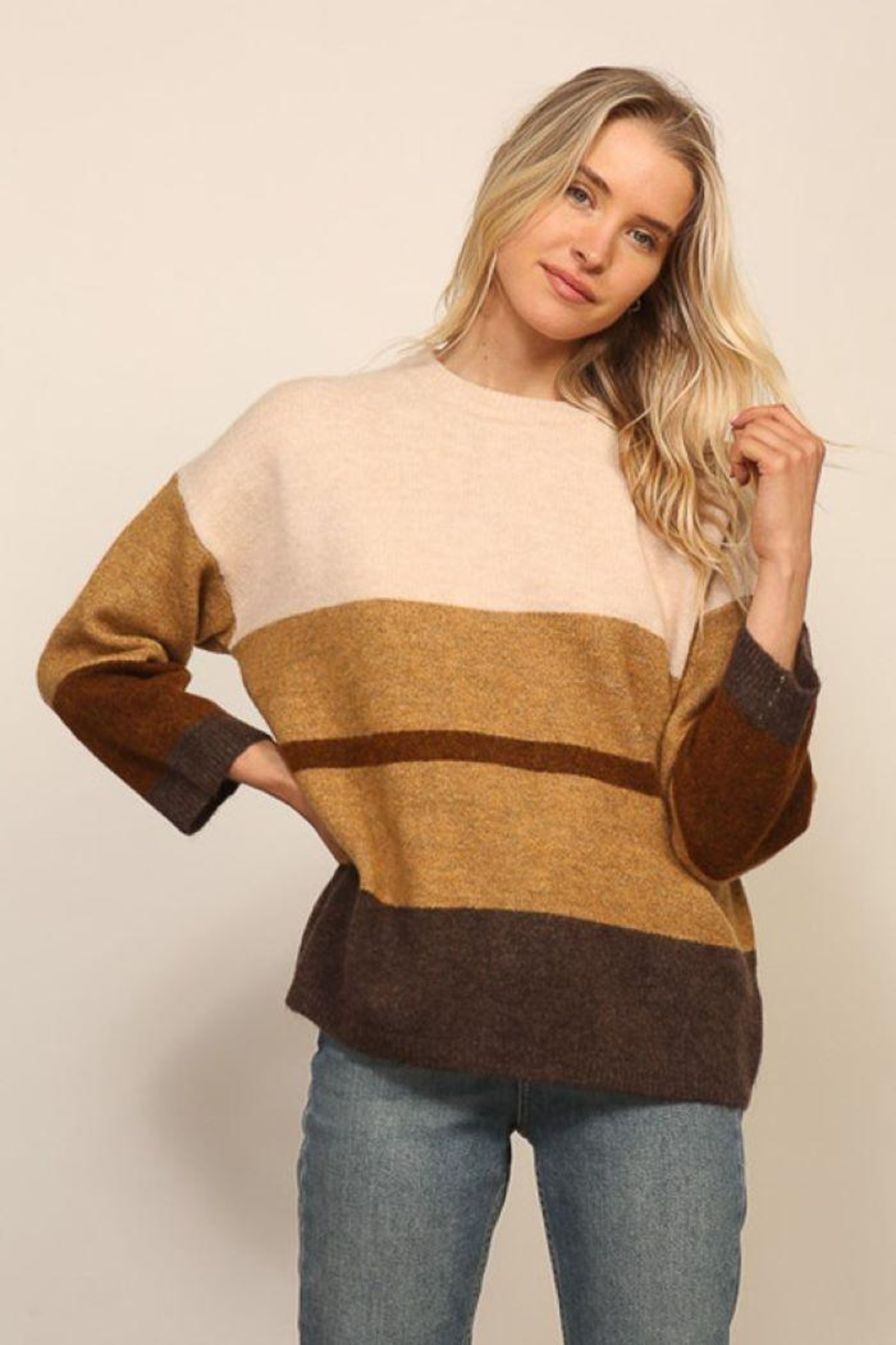 Lumiere Long Sleeve Colorblock Knitted  Sweater - Main Image