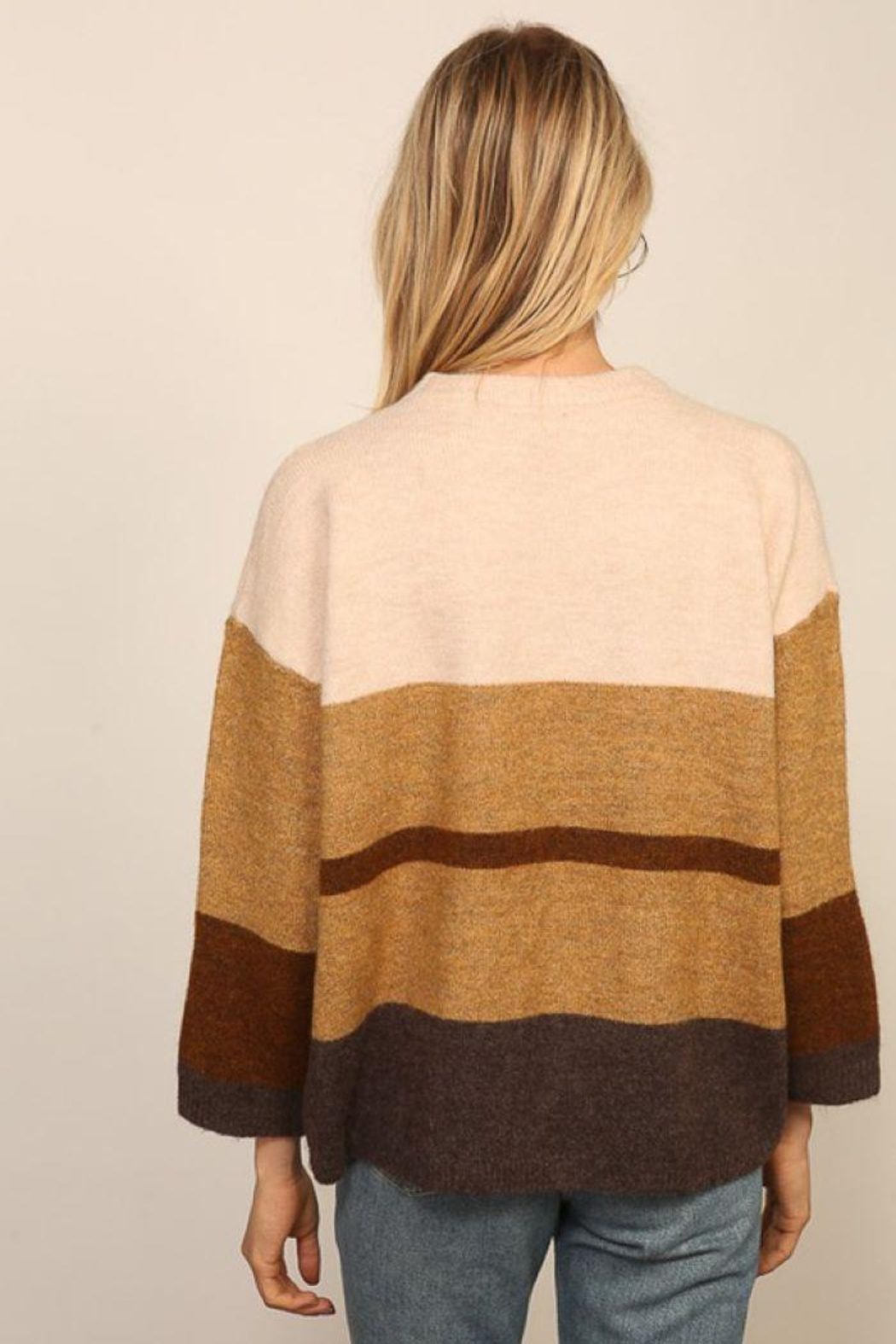 Lumiere Long Sleeve Colorblock Knitted  Sweater - Back Cropped Image