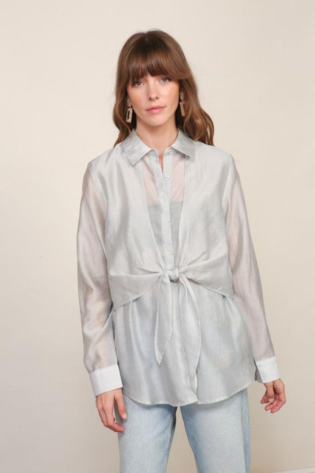 Lumiere Long Sleeve Woven Button Down With Front Tie - Main Image