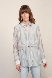 Lumiere Long Sleeve Woven Button Down With Front Tie - Product Mini Image