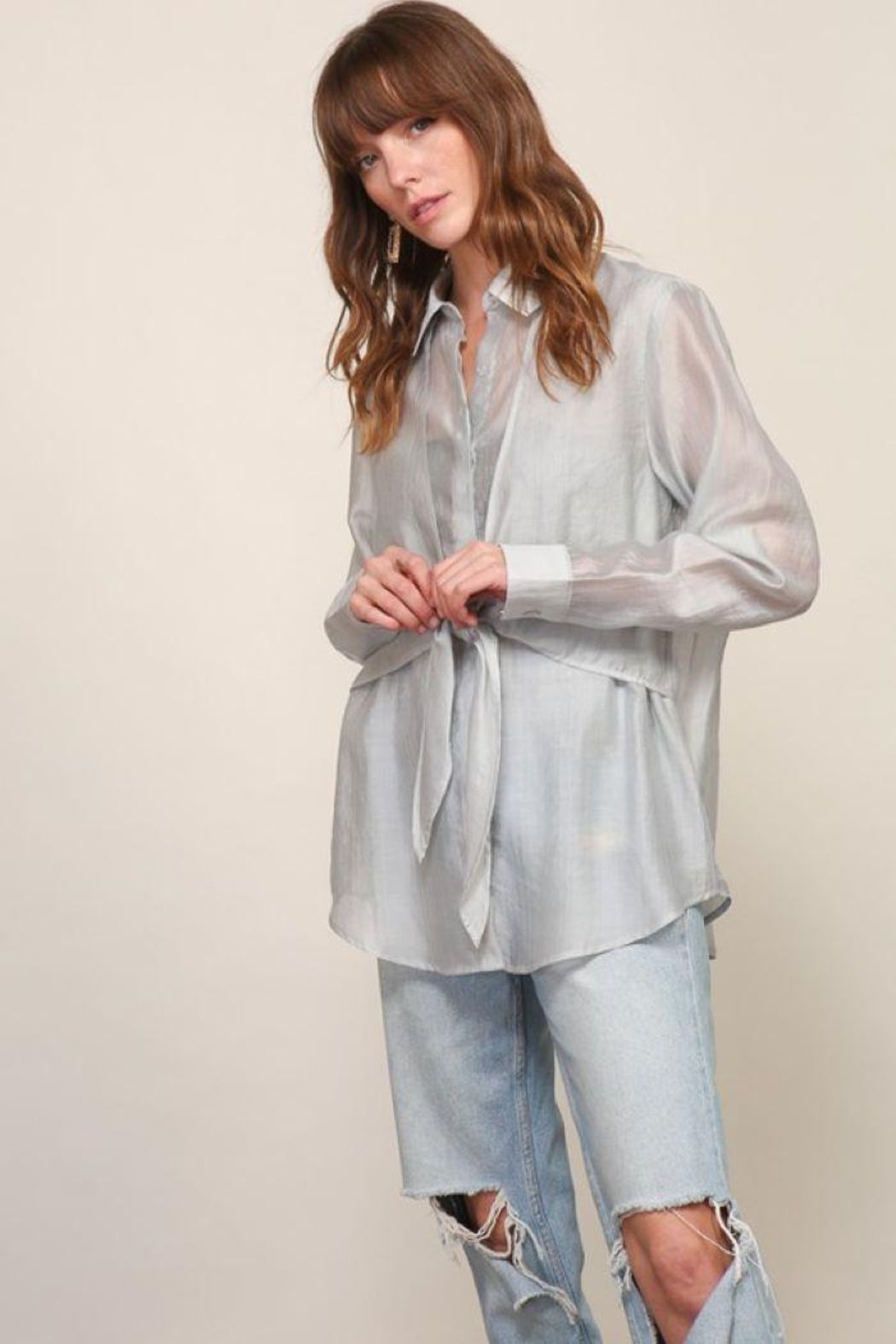 Lumiere Long Sleeve Woven Button Down With Front Tie - Side Cropped Image