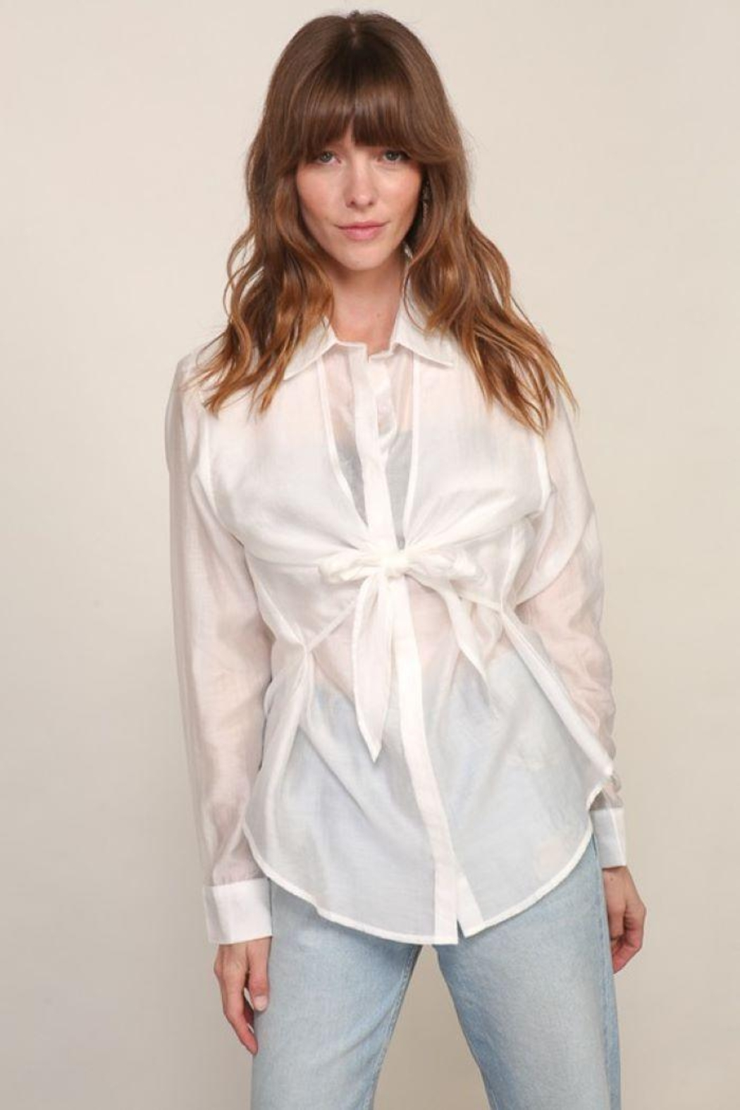 Lumiere Long Sleeve Woven Button Down With Front Tie - Back Cropped Image
