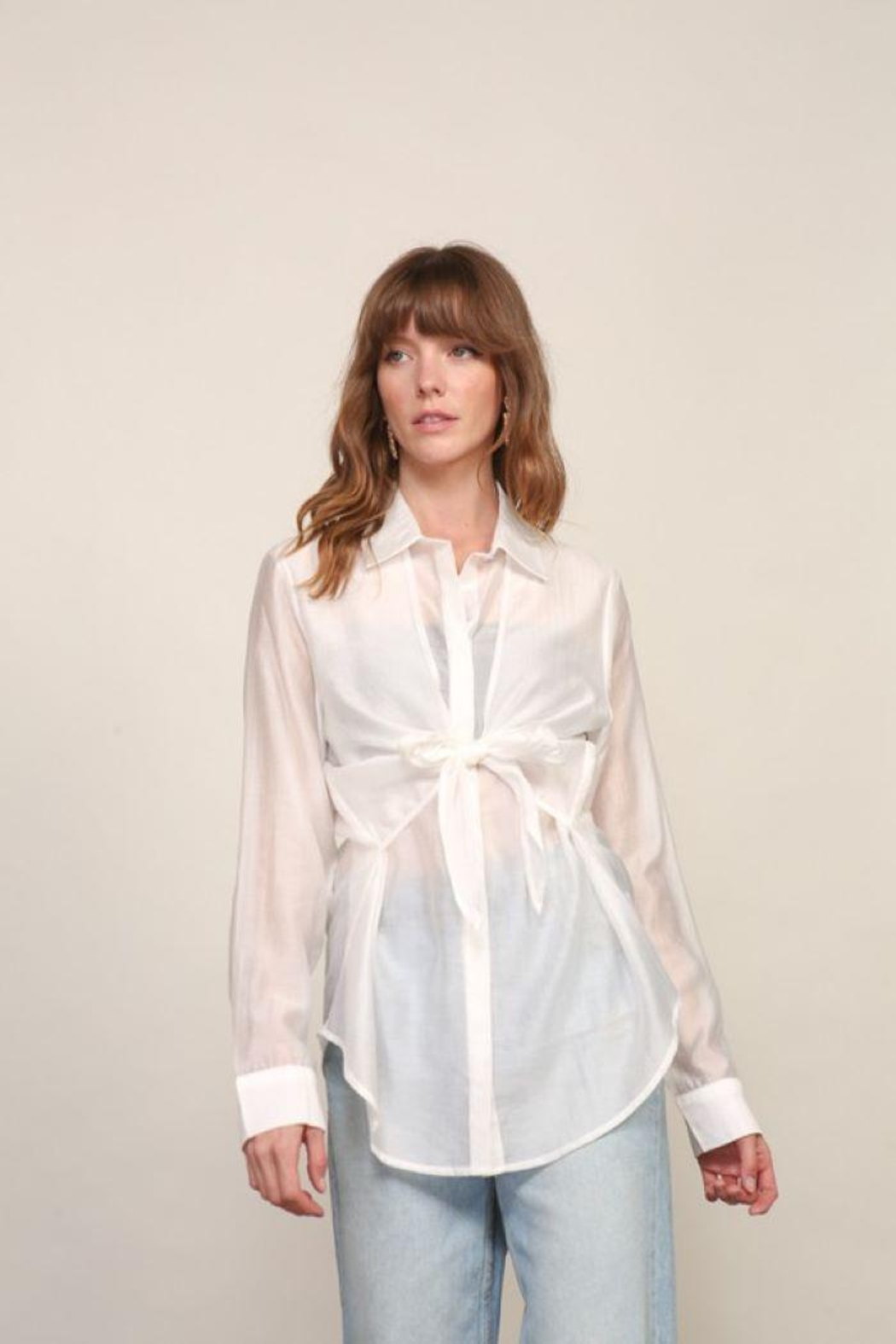 Lumiere Long Sleeve Woven Button Down With Front Tie - Front Cropped Image