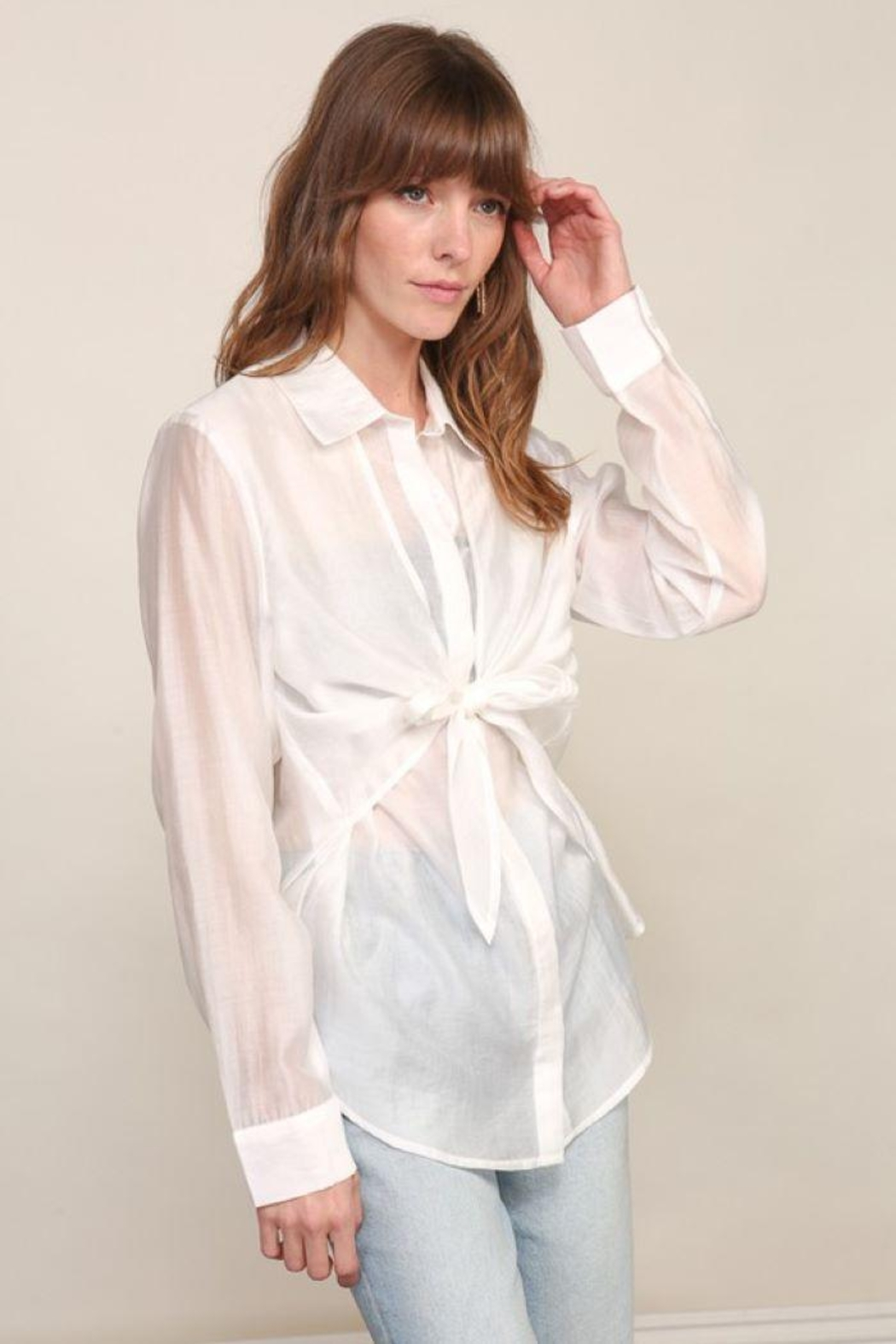 Lumiere Long Sleeve Woven Button Down With Front Tie - Front Full Image