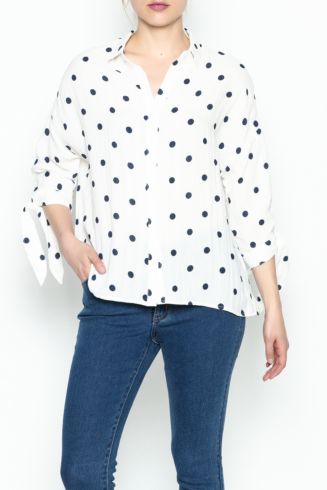 Lumiere Polka Dot Top - Front Cropped Image