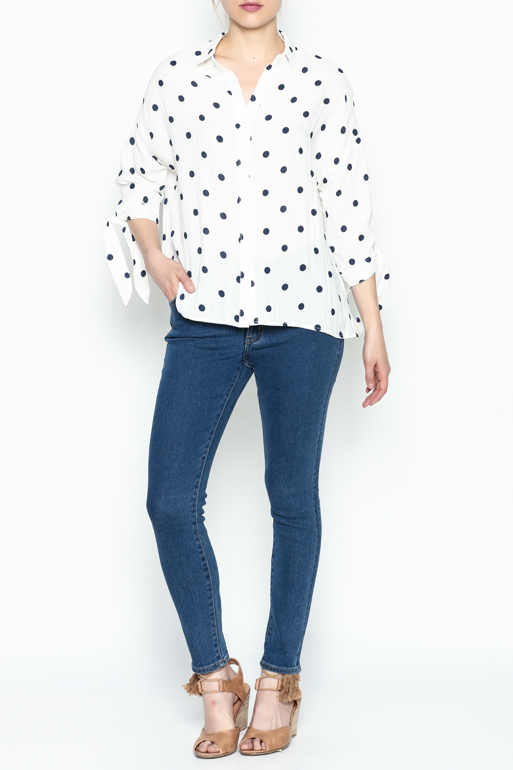 Lumiere Polka Dot Top - Side Cropped Image