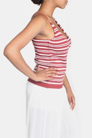 Lumiere Red Knit Striped Top - Back cropped