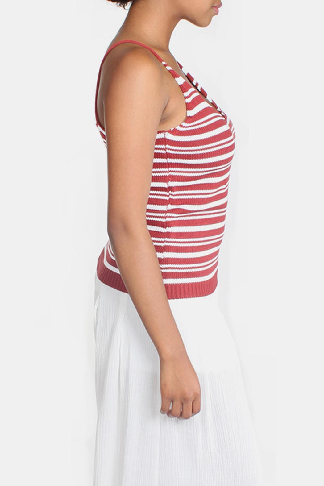 Lumiere Red Knit Striped Top - Side Cropped Image