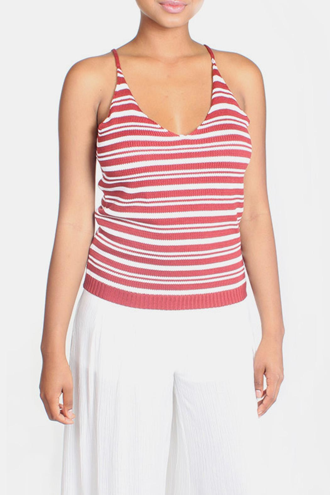 Lumiere Red Knit Striped Top - Front Full Image