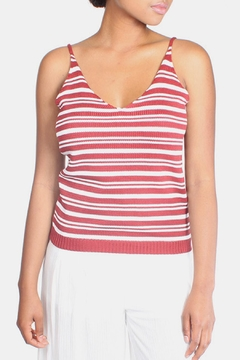 Shoptiques Product: Red Knit Striped Top