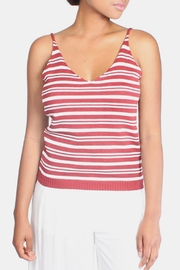 Lumiere Red Knit Striped Top - Product Mini Image