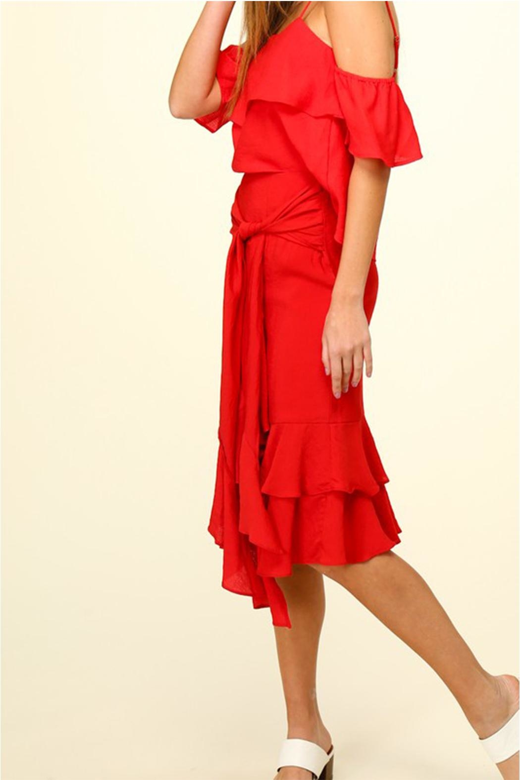 Lumiere Red Ruffle Skirt - Front Cropped Image