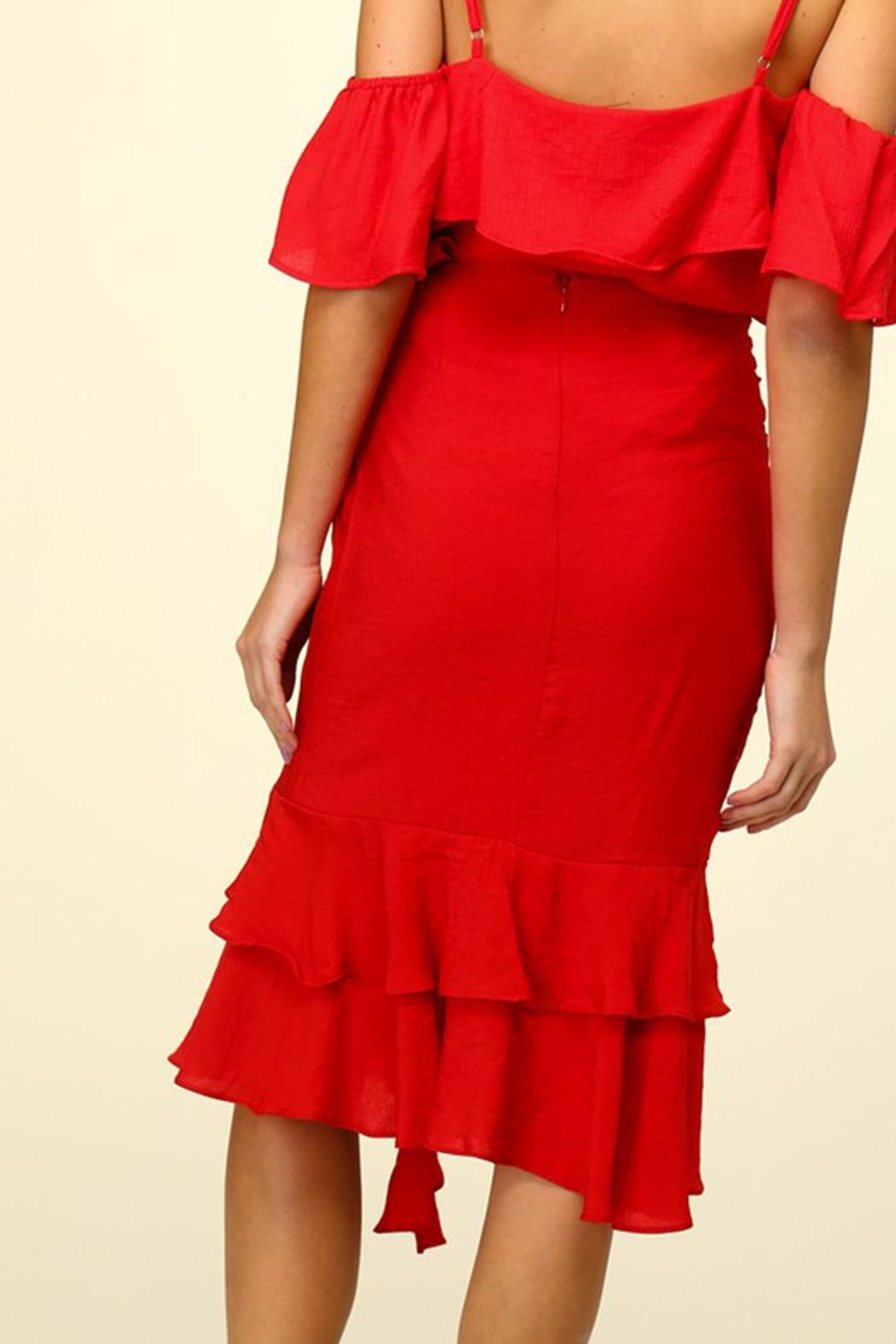 Lumiere Red Ruffle Skirt - Side Cropped Image