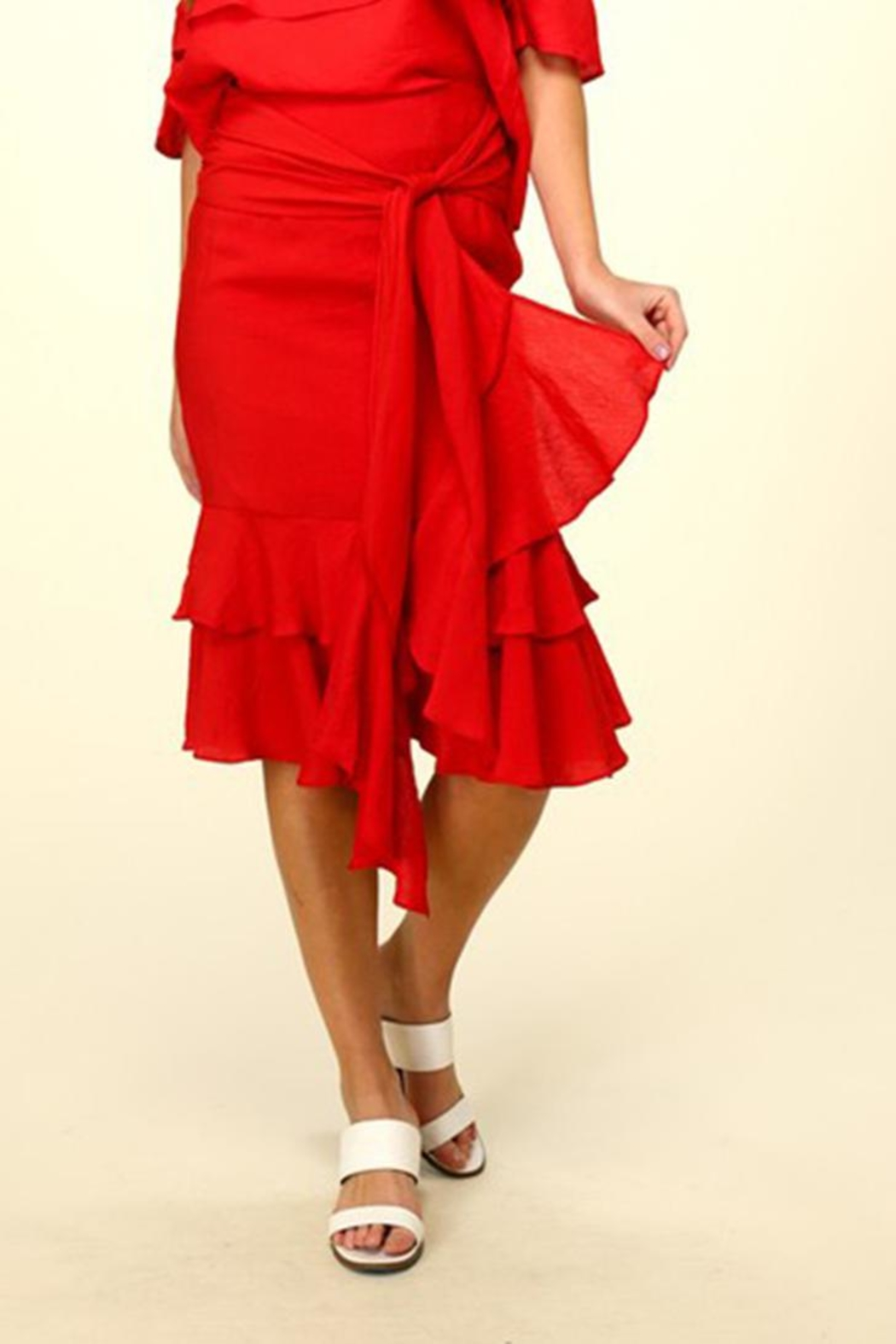 Lumiere Red Ruffle Skirt - Back Cropped Image