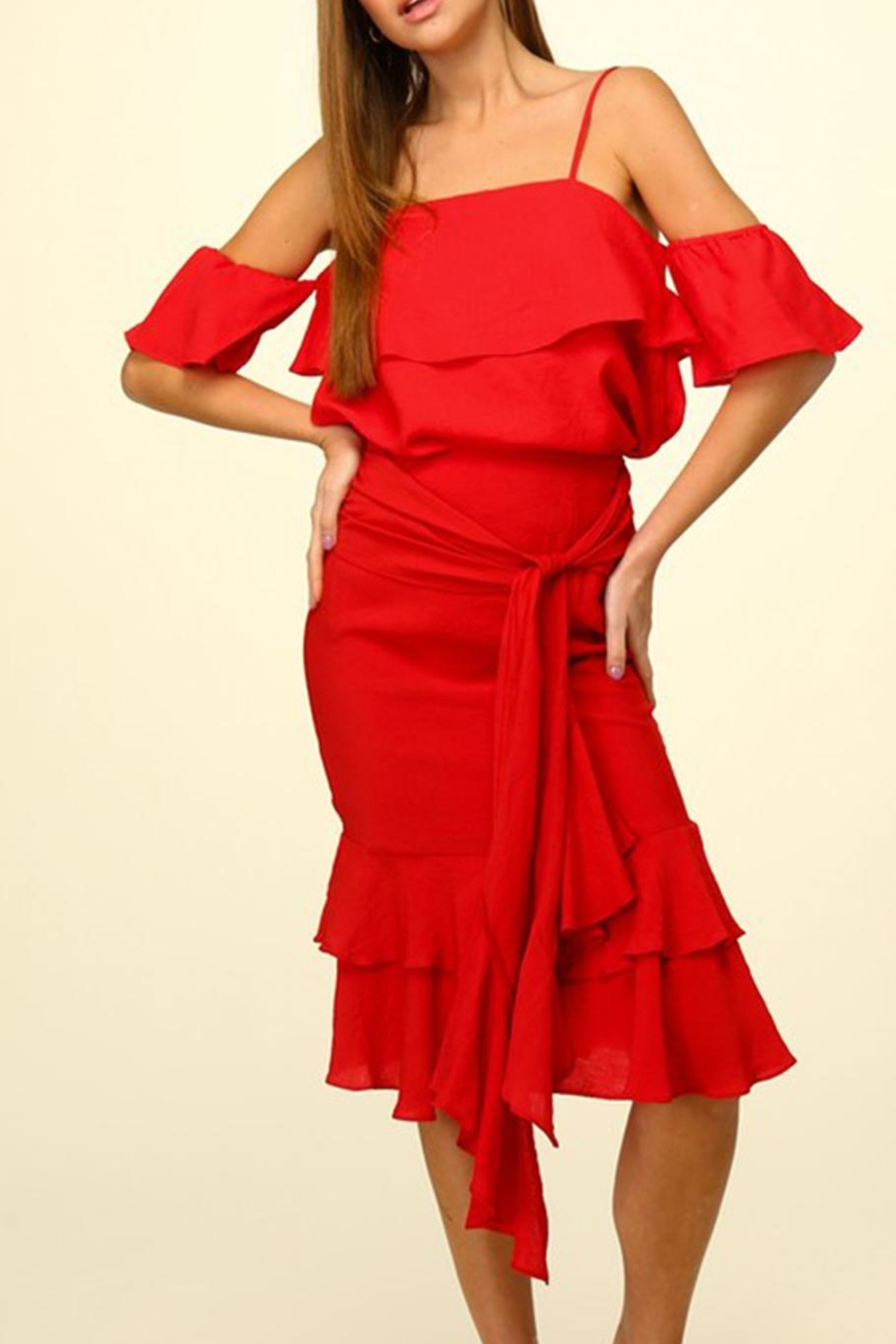 Lumiere Red Ruffle Skirt - Front Full Image