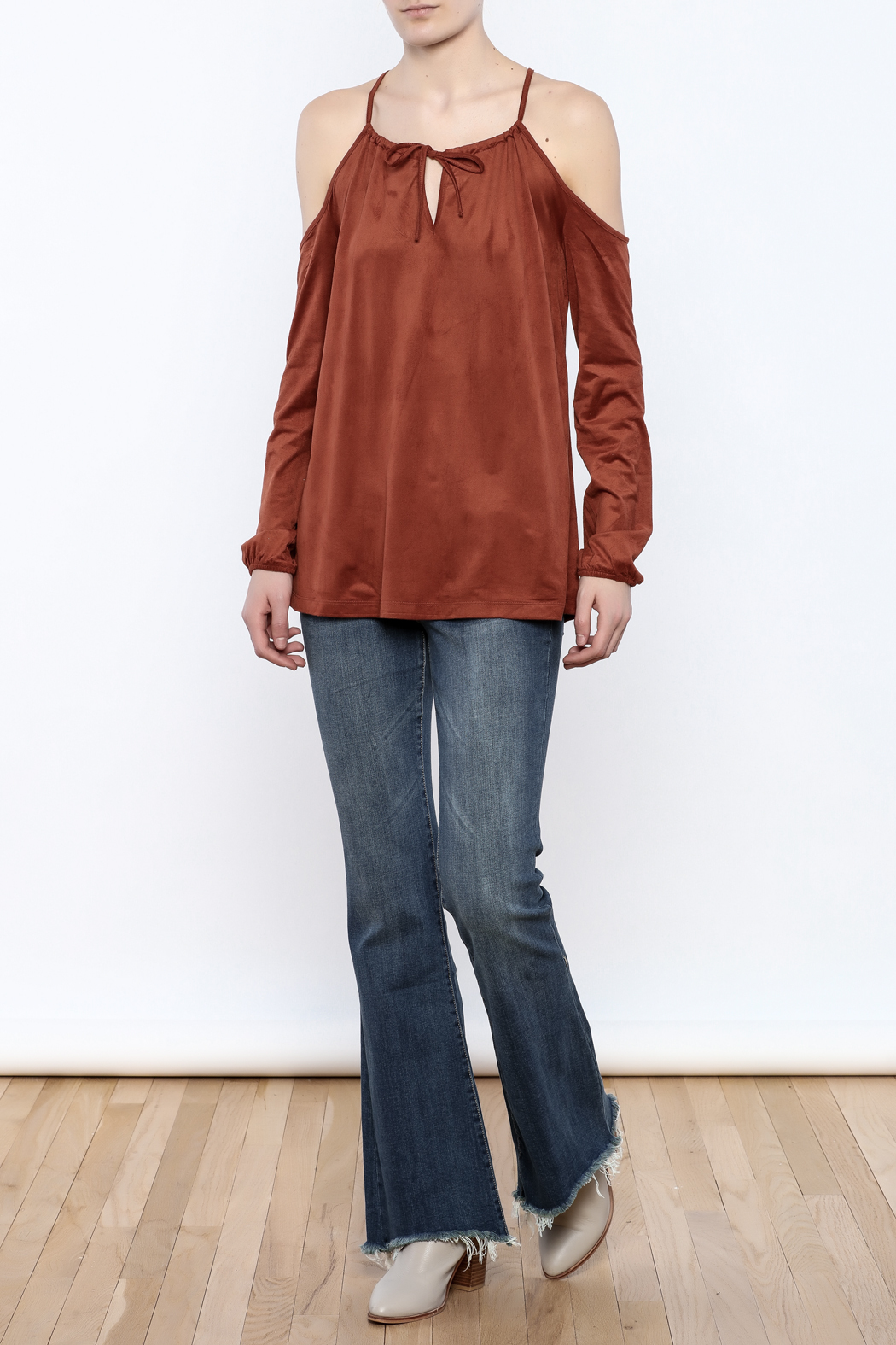Lumiere Rust Cold Shoulder Top - Front Full Image
