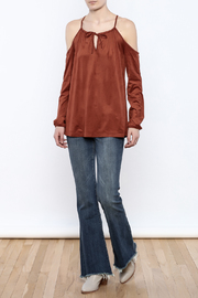 Lumiere Rust Cold Shoulder Top - Front full body