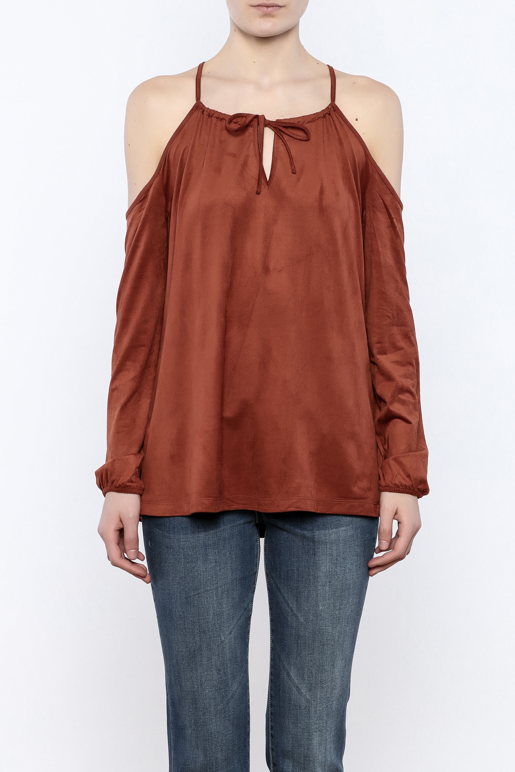 Lumiere Rust Cold Shoulder Top - Side Cropped Image