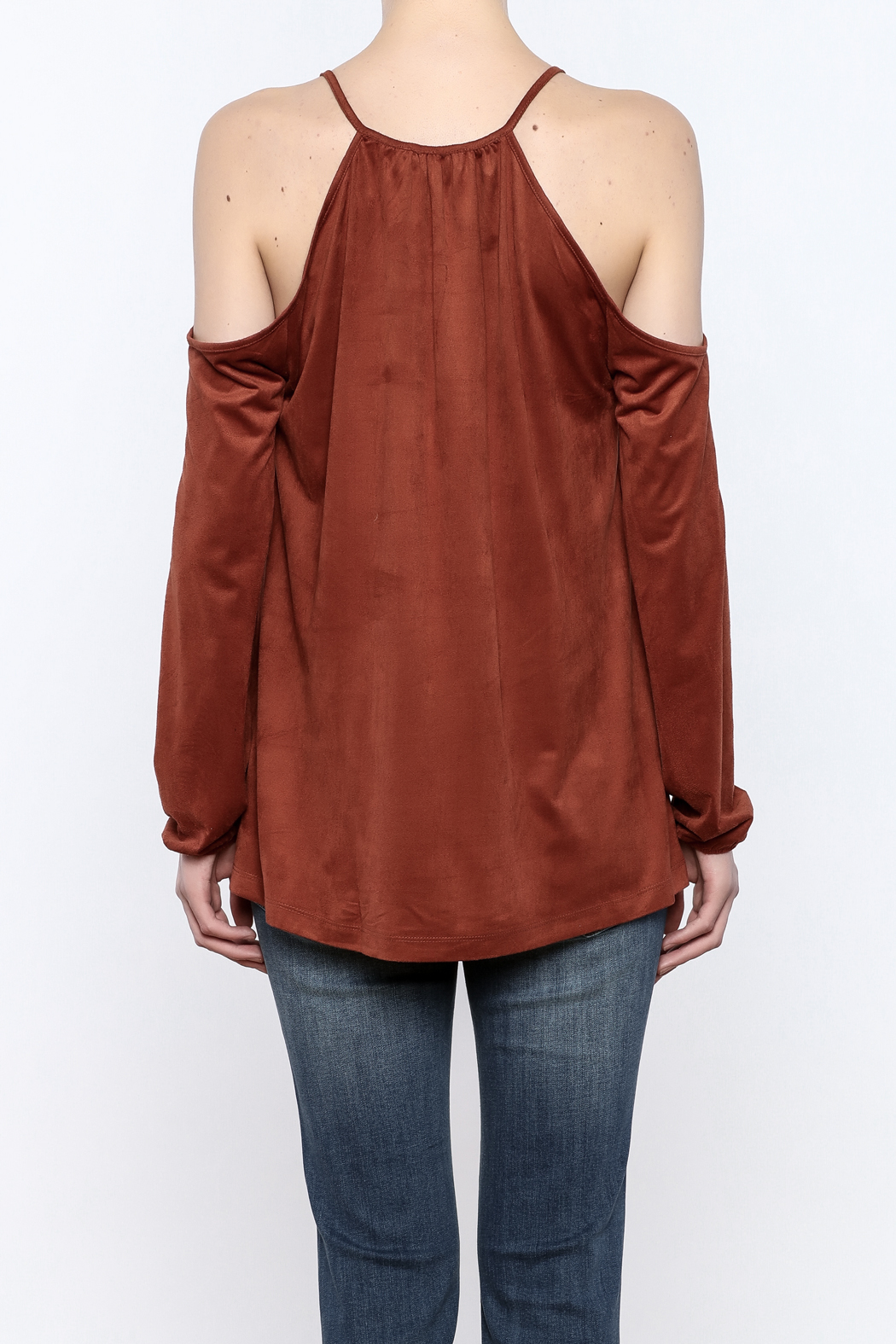 Lumiere Rust Cold Shoulder Top - Back Cropped Image