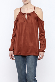 Lumiere Rust Cold Shoulder Top - Front cropped
