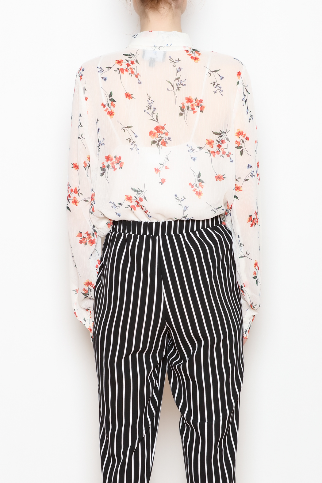 Lumiere Sheer Button-Down - Back Cropped Image