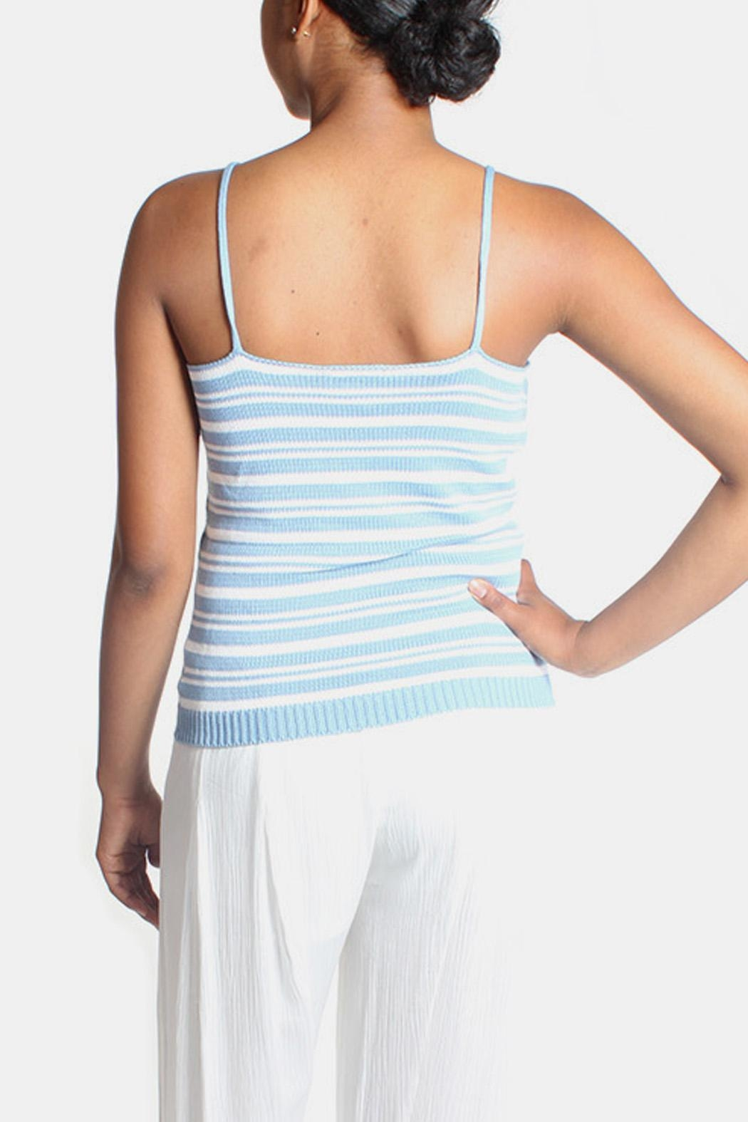 Lumiere Sky Knit Striped Top - Back Cropped Image