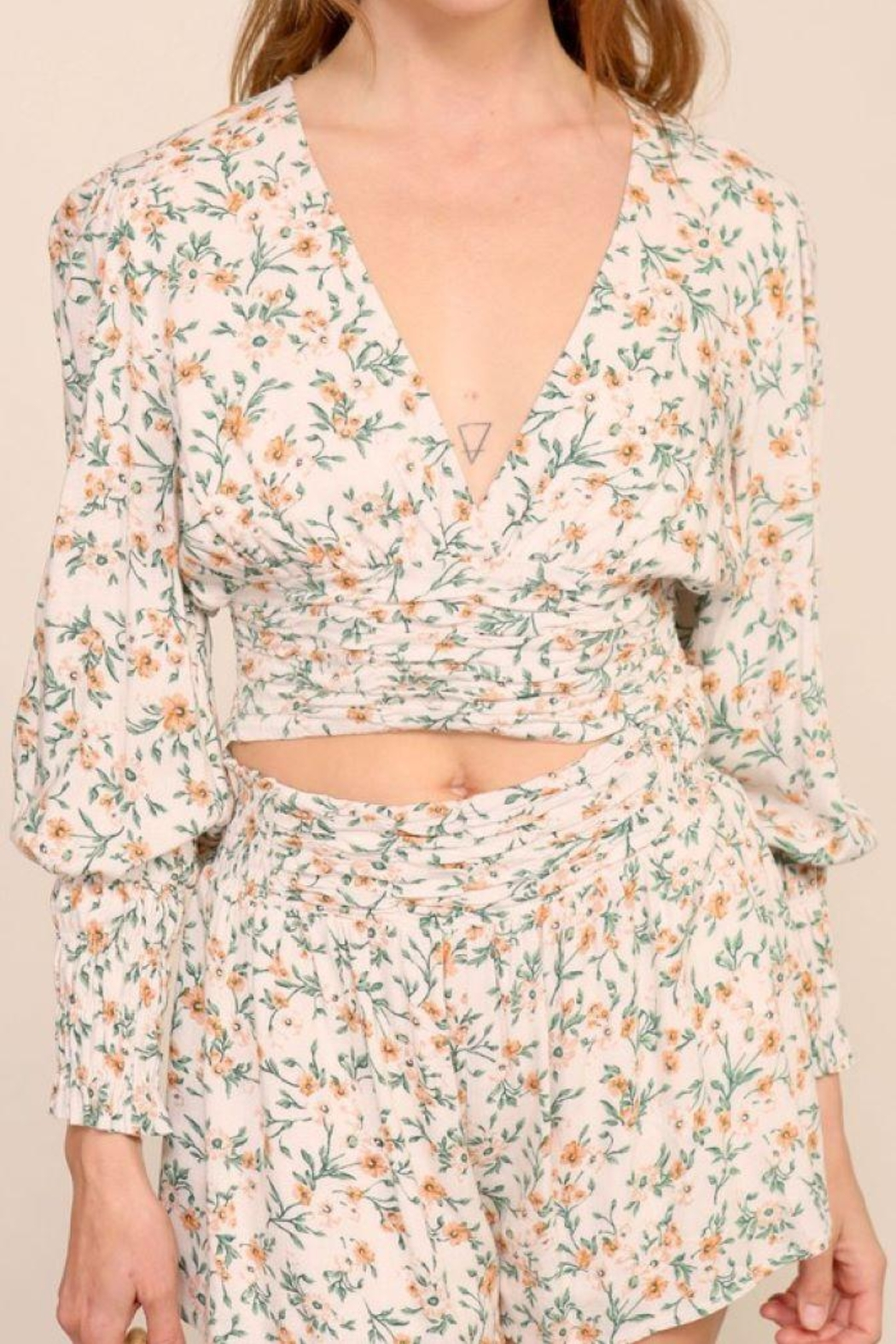 Lumiere Smocking Detail Floral Top - Front Cropped Image