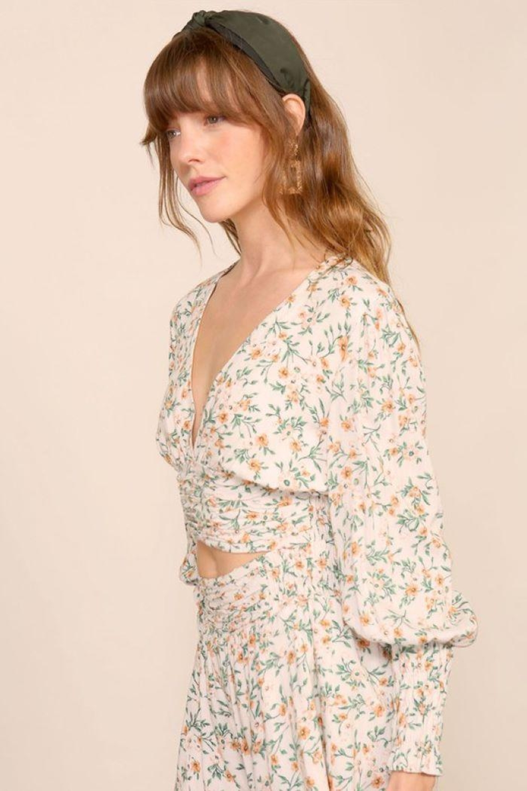 Lumiere Smocking Detail Floral Top - Front Full Image