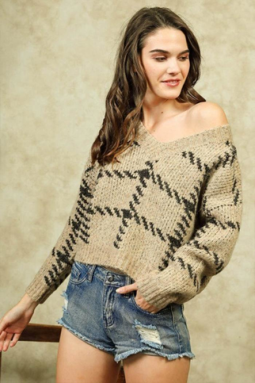 Lumiere Stitch Print Sweater - Front Full Image