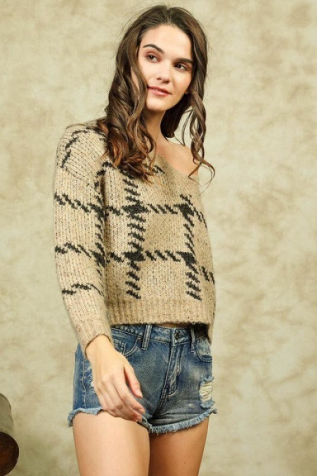 Lumiere Stitch Print Sweater - Side Cropped Image