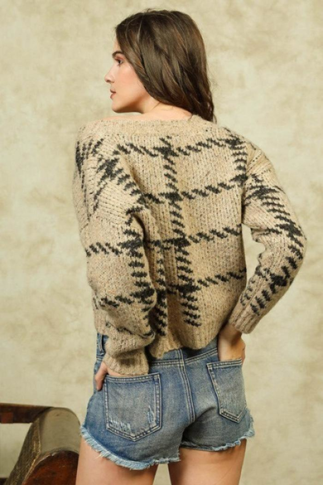 Lumiere Stitch Print Sweater - Back Cropped Image