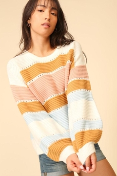 Lumiere Stripe Balloon-Sleeve Sweater - Product List Image