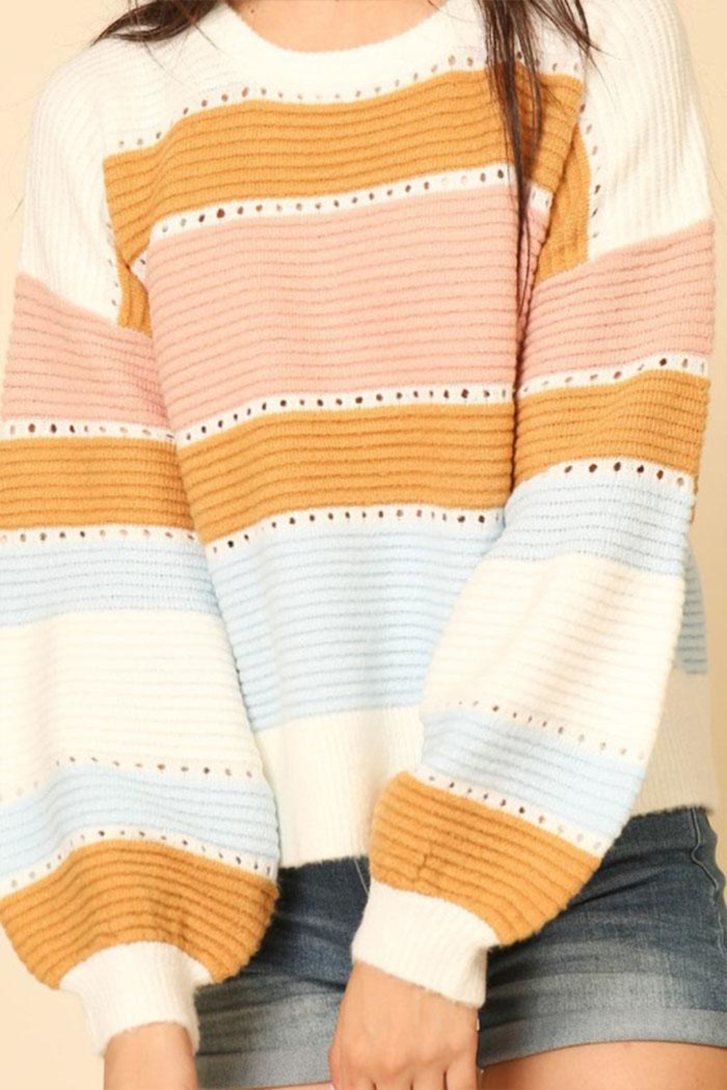 Lumiere Stripe Balloon-Sleeve Sweater - Side Cropped Image