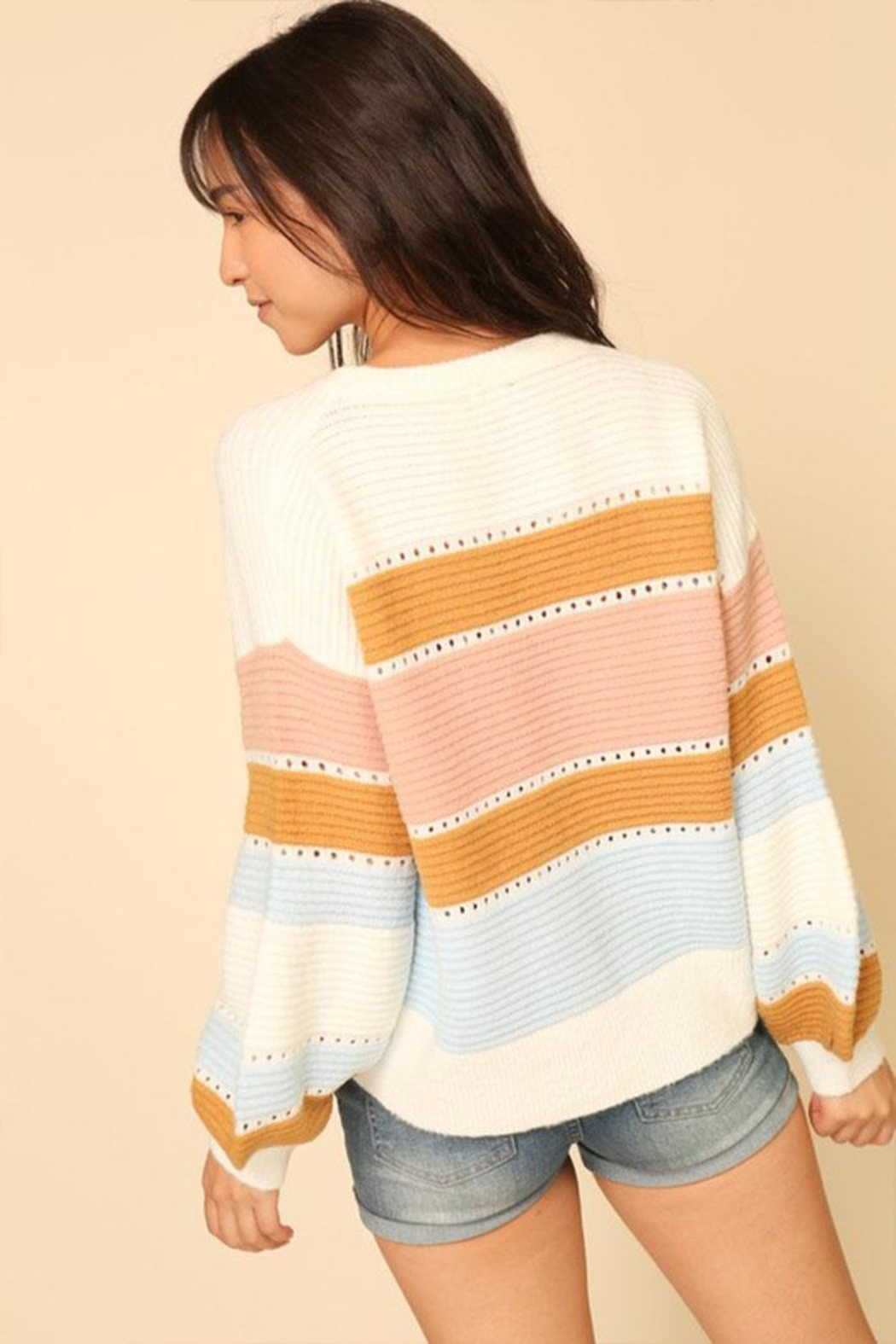 Lumiere Stripe Balloon-Sleeve Sweater - Back Cropped Image