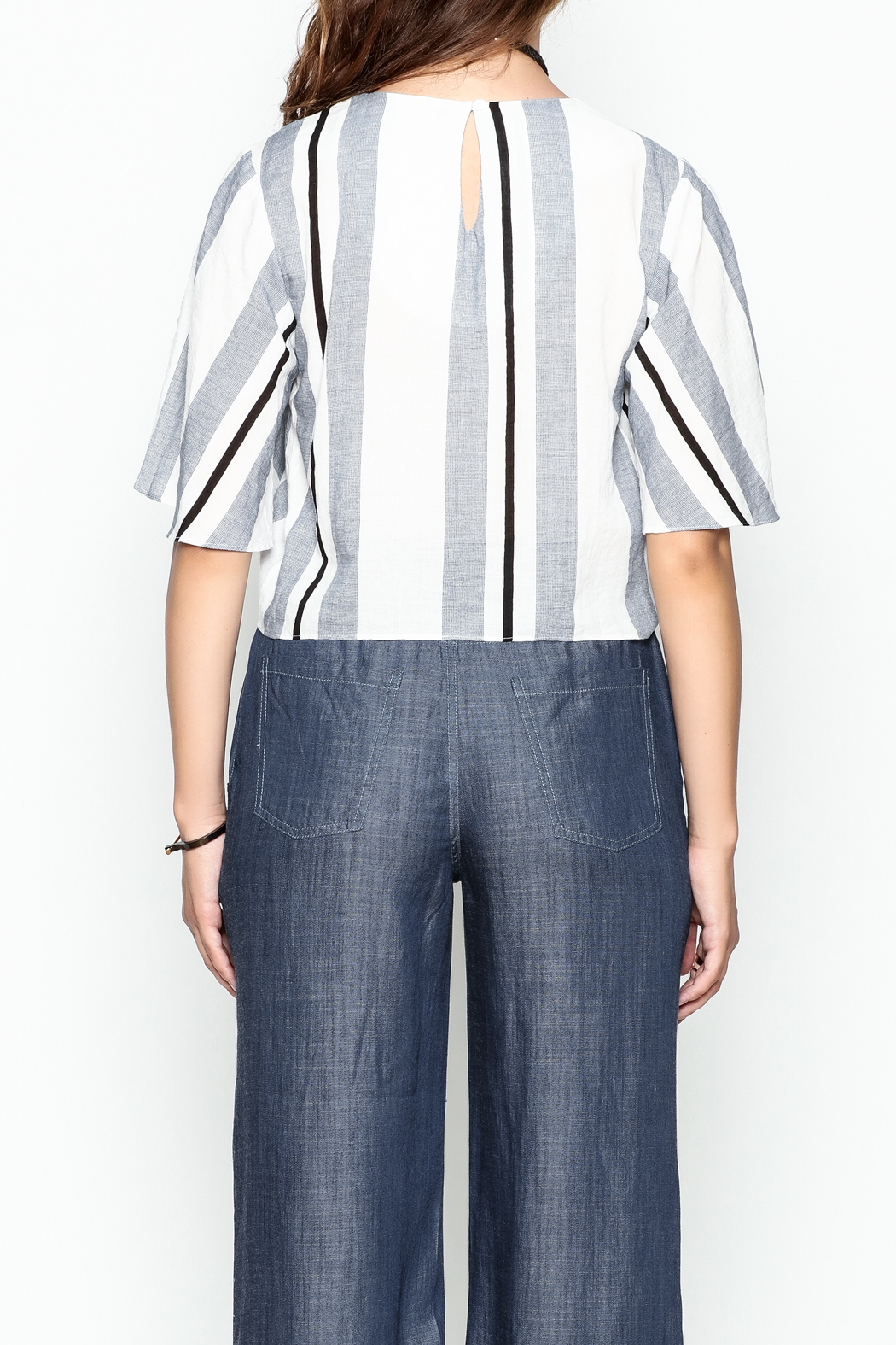 Lumiere Stripe Knot Top - Back Cropped Image
