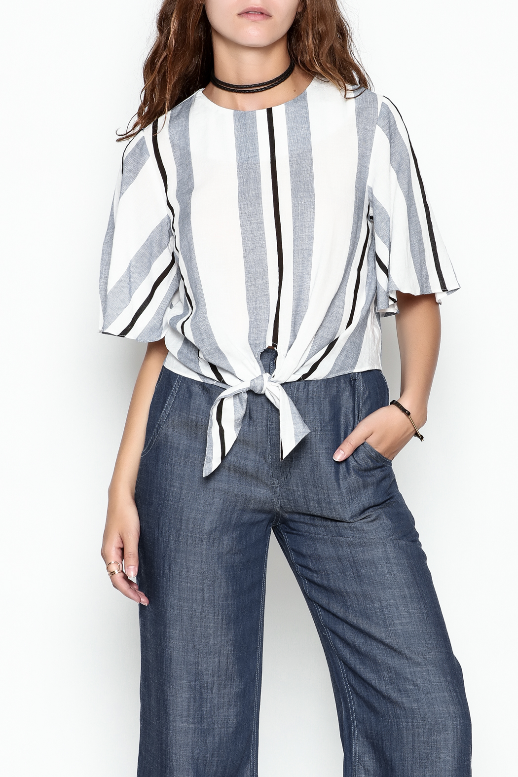 Lumiere Stripe Knot Top - Front Cropped Image