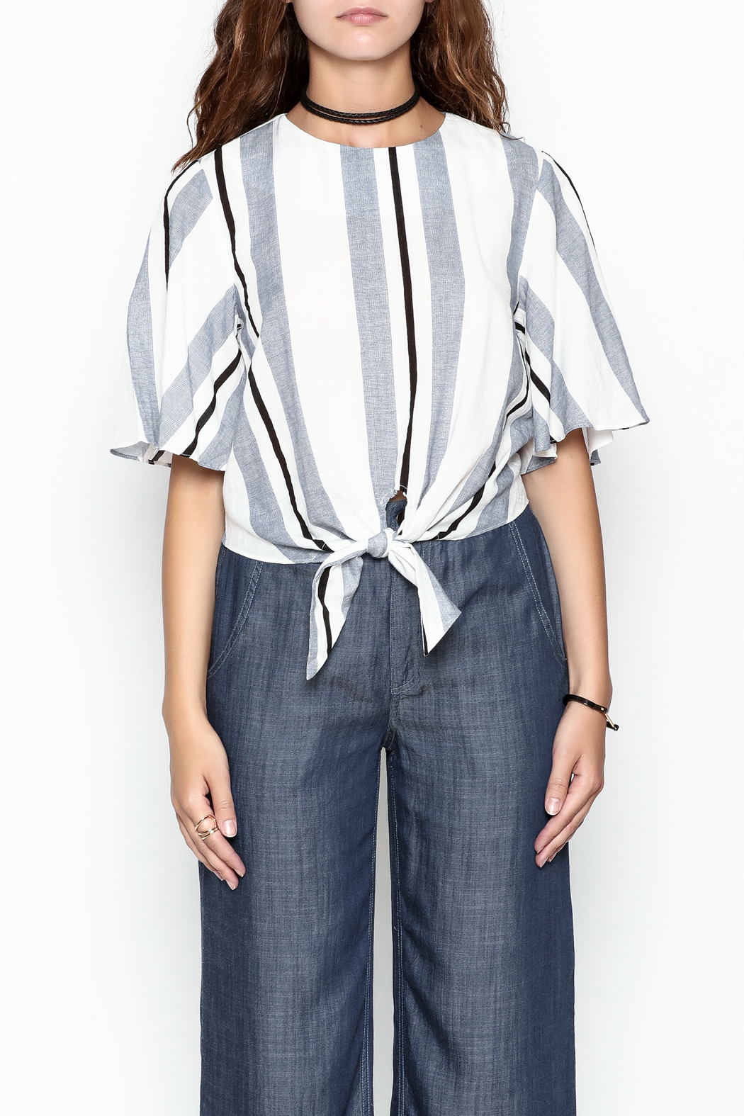 Lumiere Stripe Knot Top - Front Full Image