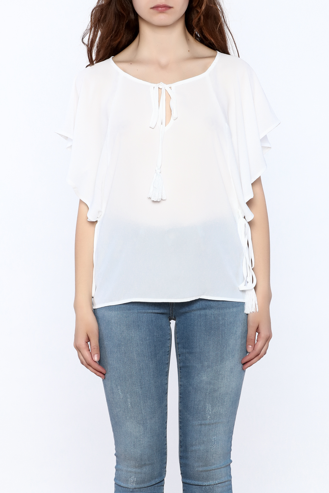 Lumiere White Tassel Top - Side Cropped Image