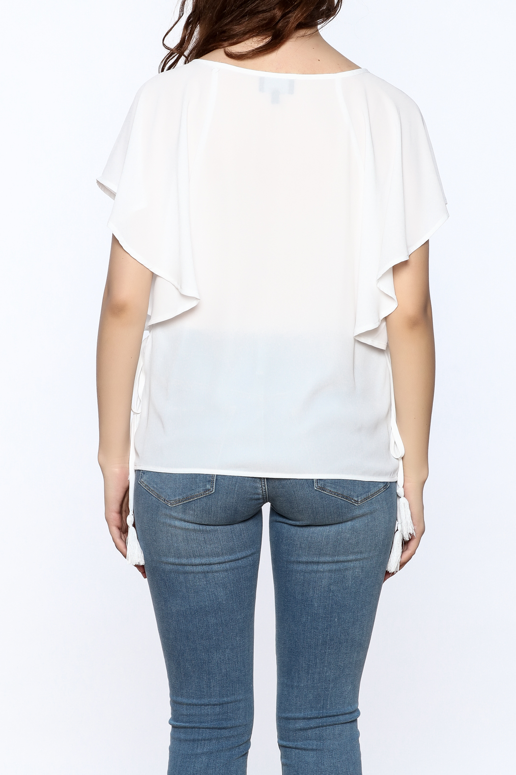 Lumiere White Tassel Top - Back Cropped Image