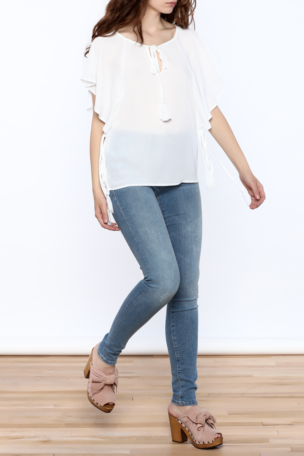 Lumiere White Tassel Top - Front Full Image